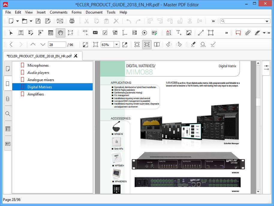 Navigating in PDF using bookmarks