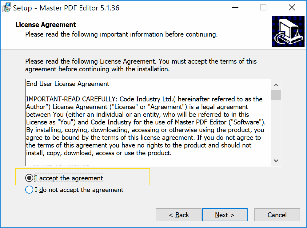 consent with the license during the installation