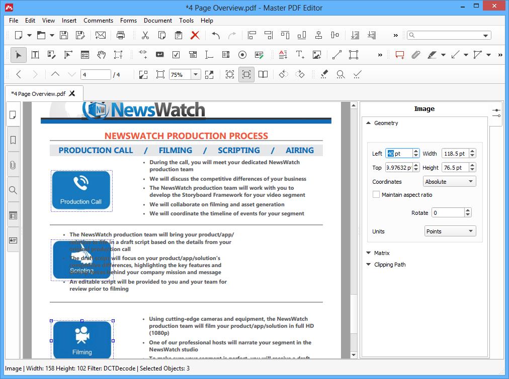 Editing PDF Objects in Master PDF Editor