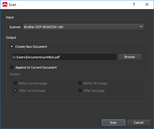Scanning paper documents into PDF files