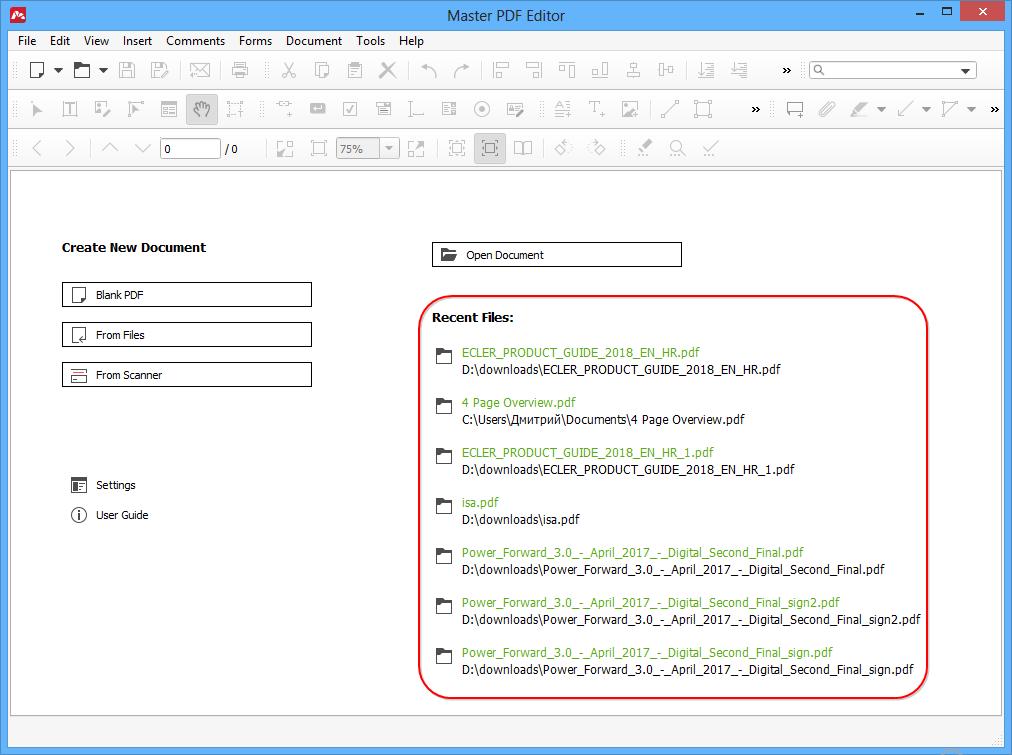 Opening and Saving PDF Files