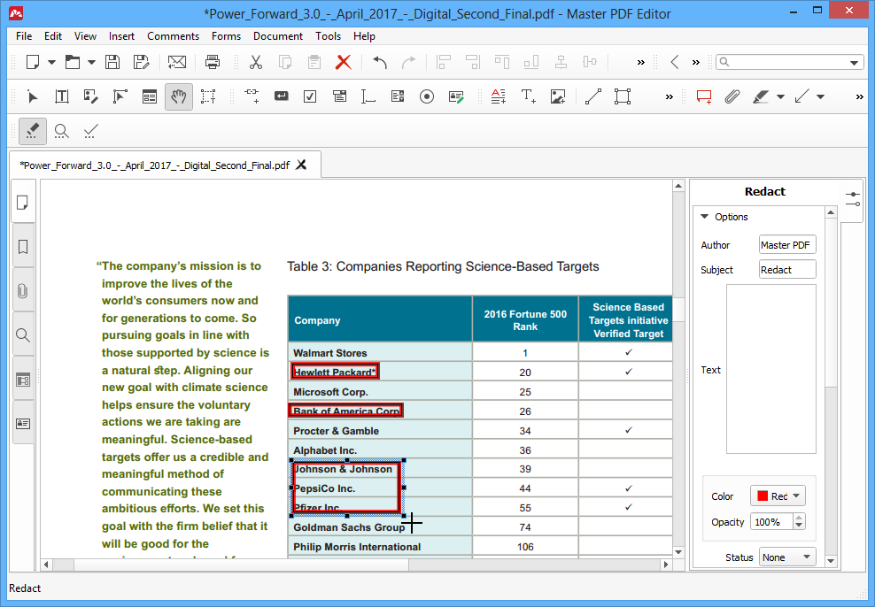 Redacting PDF Document